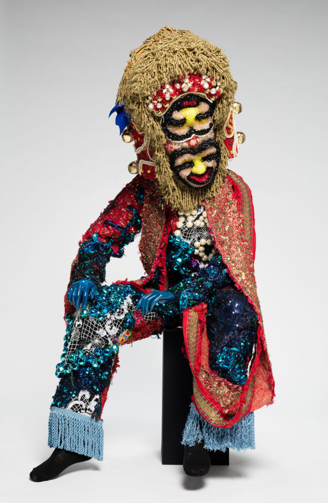 Raúl de Nieves  Fina Sound, 2018  Vintage military suit, sequins, metal bells, threads, glue, cardboard, plastic beads, tape, trims, mannequin Dimensions variable Ringier Collection, Switzerland