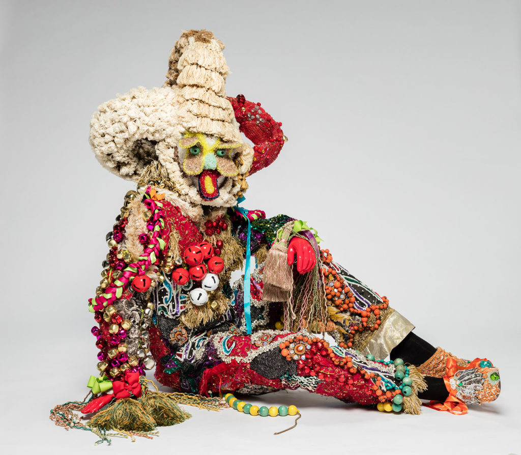 Raúl de Nieves  Fina Wisdom, 2019  Vintage military suit, sequins, metal bells, threads, glue, cardboard, plastic beads, tape, trims, mannequin Dimensions variable Collection of Steve Corkin and Dan Maddalena