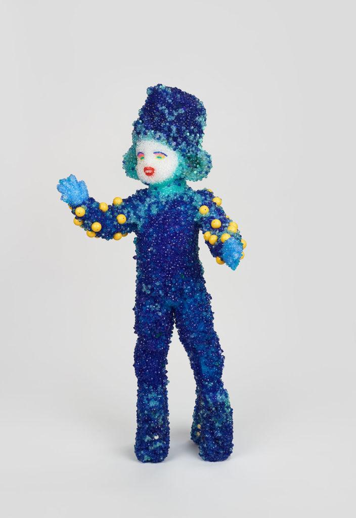Logan Raúl de Nieves  Logan, 2018  Plastic beads, fiberglass, glue 40h × 24w × 12d inches Collection of Mike De Paola/Courtesy Cromwell Art LLC