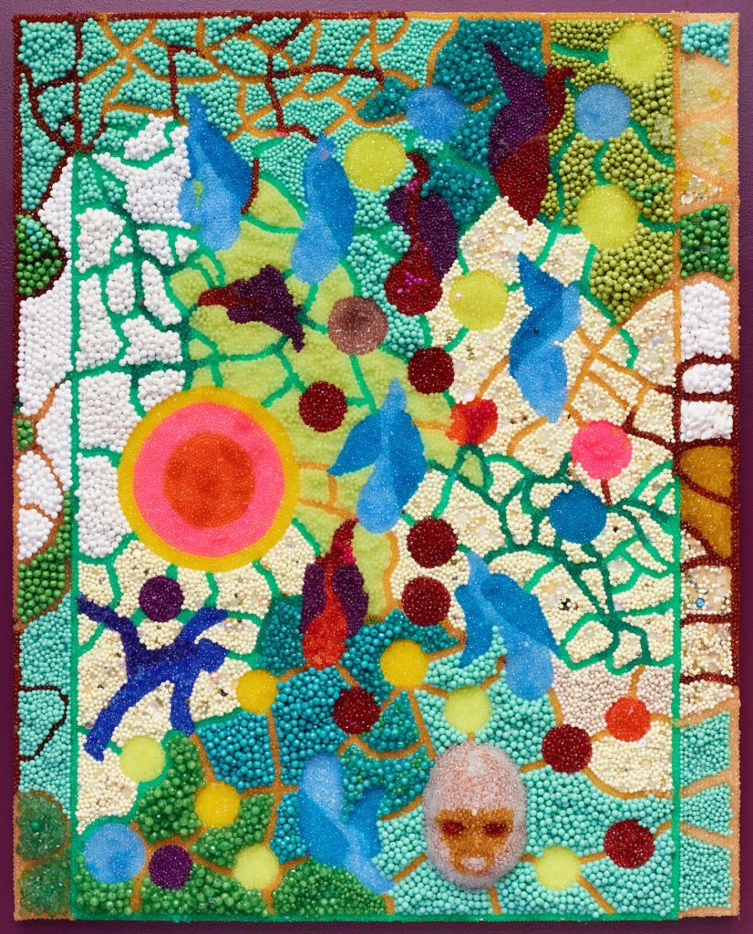 Raúl de Nieves  Spring, 2018  Plastic beads, glue, wood panel 60 × 48 × 2½ inches Courtesy of the artist and Fitzpatrick, Los Angeles / Paris