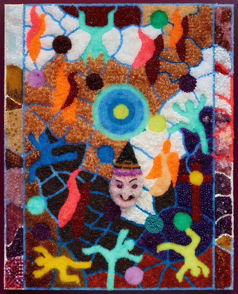 Raúl de Nieves  Winter, 2018  Plastic beads, glue, wood panel 60 × 48 × 2½ inches Courtesy of the artist and Fitzpatrick, Los Angeles / Paris